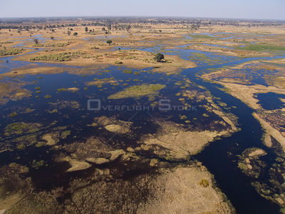 Aerial view of the flooded Okavango delta in Botswana, August 2007