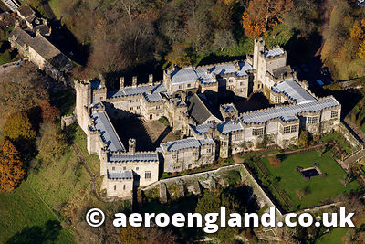 aerial photograph of Haddon Hall Derbyshire England UK