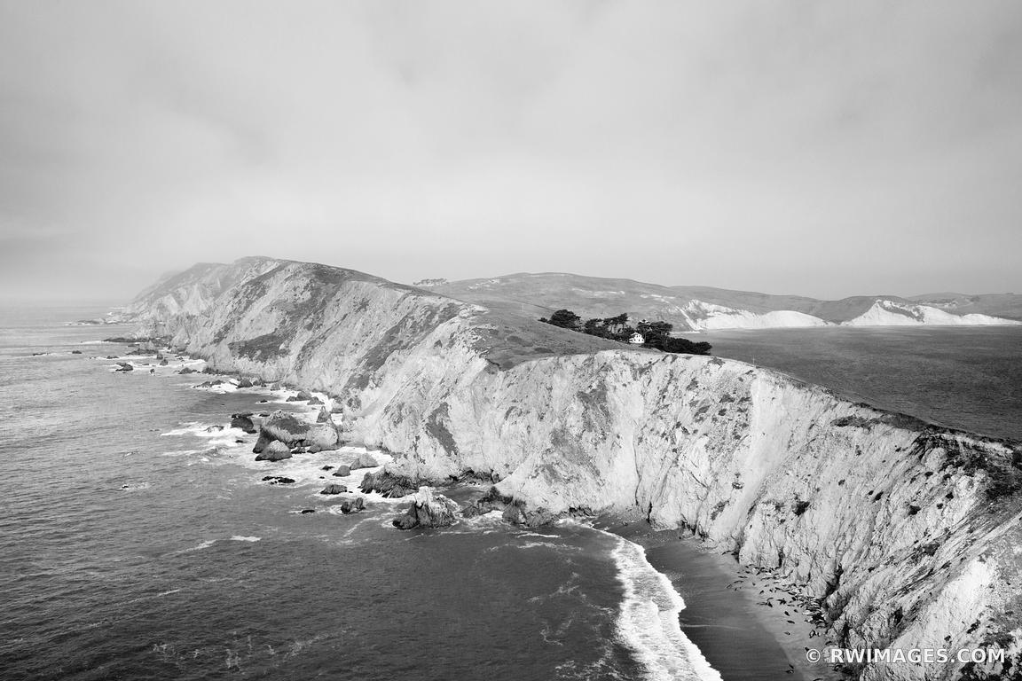 POINT REYES HEADLANDS VIEW FROM CHIMNEY ROCK TRAIL POINT REYES NATIONAL SEASHORE CALIFORNIA BLACK AND WHITE