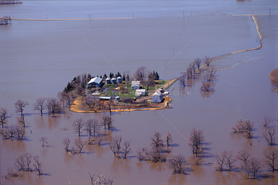 Aerial view of flooded land at Grand Forks North Dakota USA April 1997