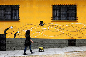 Woman walking her dog and slogans painted on yellow wall, Sopocachi, La Paz, Bolivia