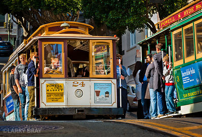 2 cable cars pass in San Francisco, California, USA