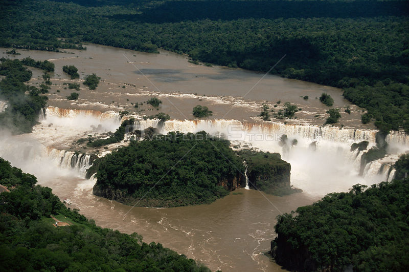 Aerial view of Iguazu Falls on the Argentina / Brazil border, South America