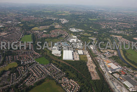 Manchester wide angle high level view of the Agecroft Industrial Estate Agecroft Manchester