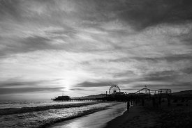 Santa Monica Pier Sunset Black and White Photo