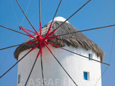Mykonos Greece, Cyclades, Low angle view of wind mill, close-up