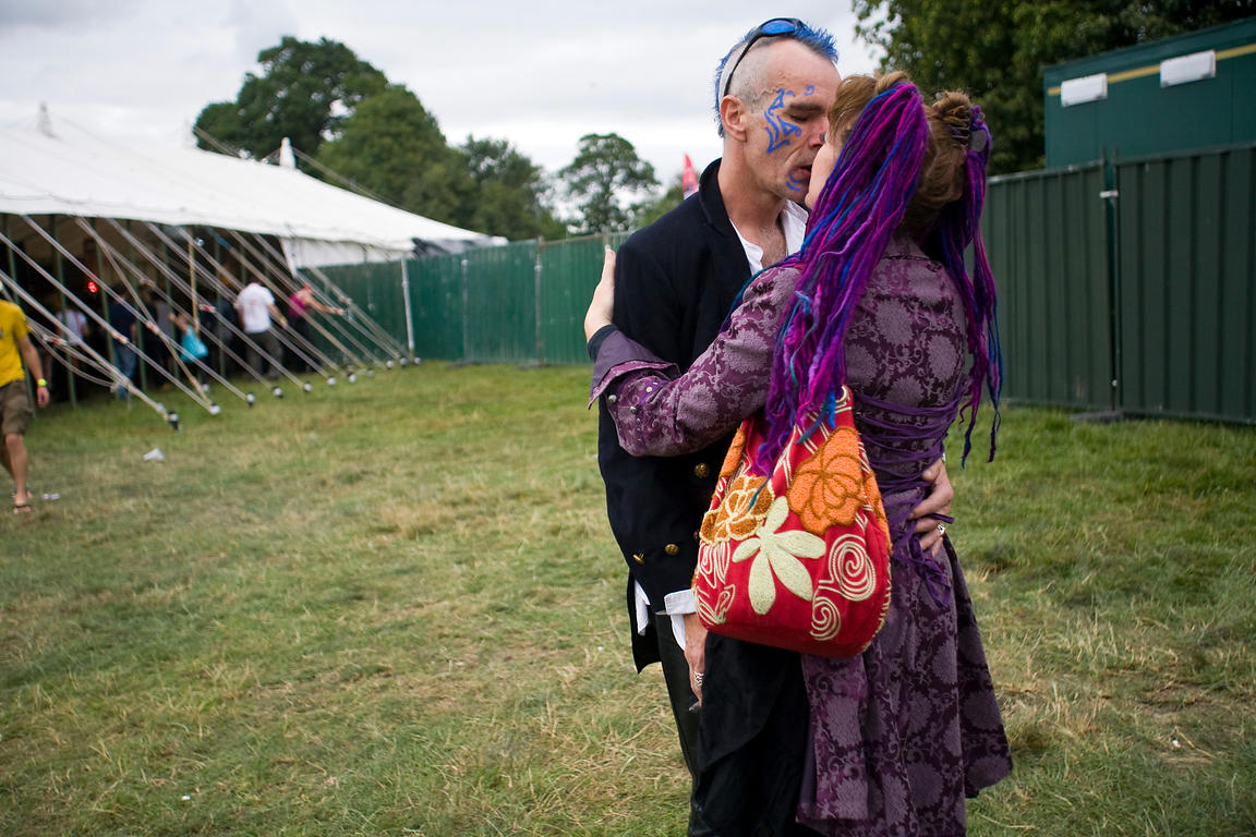 UK - Standon - An alternatively dressed couple in costume kiss at the Standon Calling Festival
