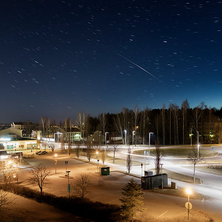 Flare of Iridium satellite above the city of Lahti on May 4 2017.