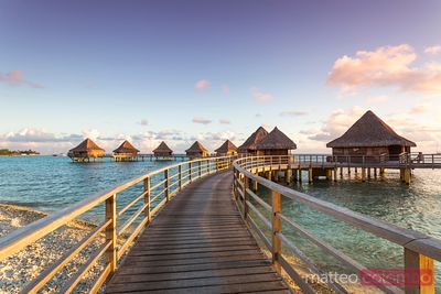 Water bungalows, Rangiroa, French Polynesia