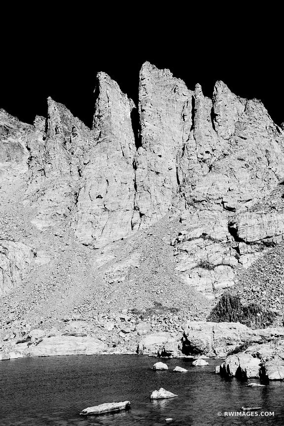 SKY POND SHARKS TEETH ROCKY MOUNTAIN NATIONAL PARK COLORADO BLACK AND WHITE VERTICAL