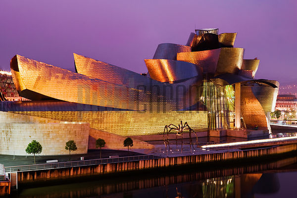Elevated View of Guggenheim Museum at Dawn by Frank Gehry Bilbao Spain