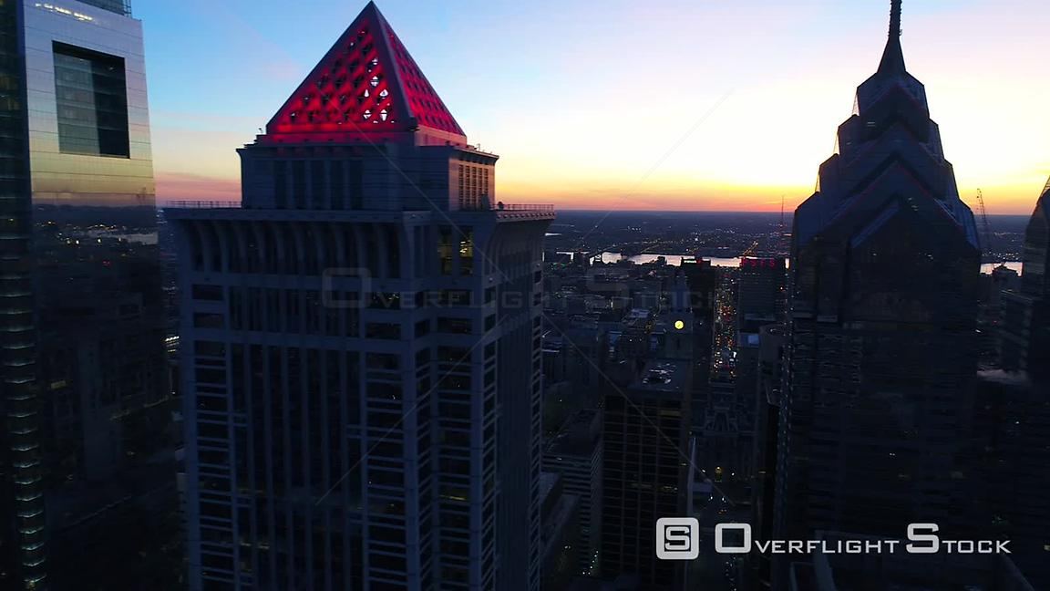 Drone Video Downtown Cityscape at Dusk Philidelphia Pennsylvania