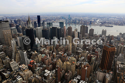 Looking east over East River to Queens and Long Island from the Empire State Building (1931), New York City, USA