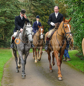 Ollie Finnegan, Ashley Bealby arriving at the meet - The Cottesmore Hunt at Little Dalby 7/2