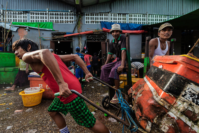 Workers at the Sanpya Wholesale Fish Market