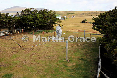 Typical enclosure behind Falkland Islands housing or accommodation (here Pebble Island Lodge) - fencing to keep the sheep out...