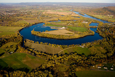 Aerial view of Oxbow lake formed on the Connecticut River, Easthampton, Massachusetts, USA, November 2007
