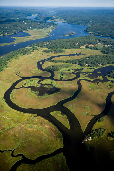 Aerial view of wetlands near the Connecticut River in Lyme, Connecticut, USA, October 2006.