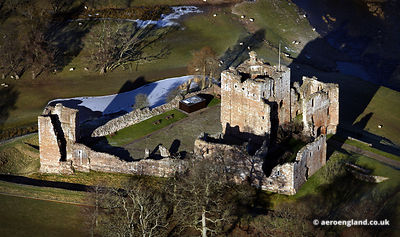 aerial photograph of Brougham Castle Cumbria England UK
