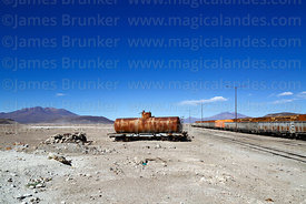 Abandoned tank wagon outside Avaroa station, Nor Lípez Province, Bolivia