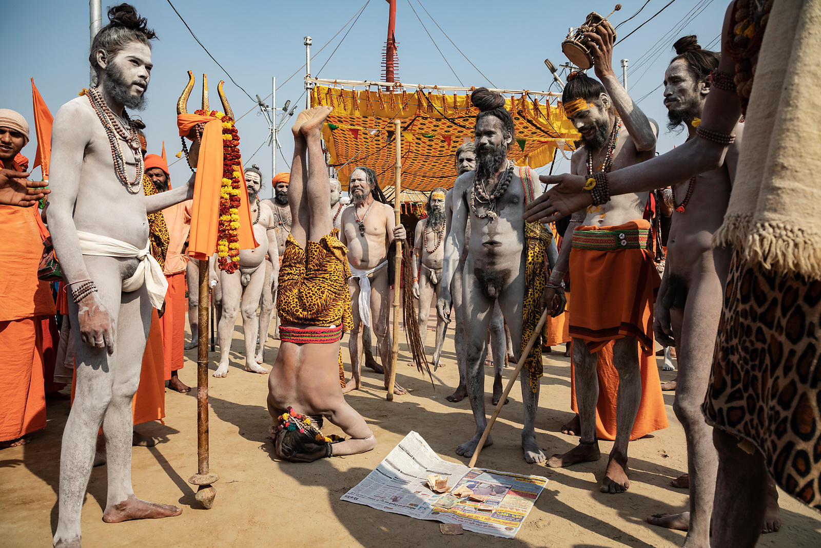 Naga Sadhus Perform to Raise a Few Rupees