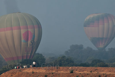 Hot air balloons in dramatic morning light, Pushkar, Rajasthan, India