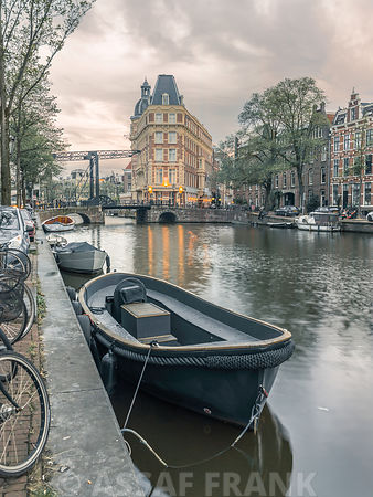 Boat moored by the canal, Amsterdam