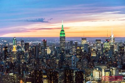 Aerial of Manhattan skyline at dusk, New York city