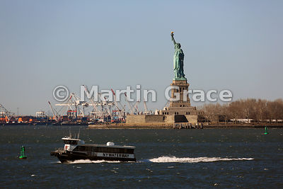Statue of Liberty (1886) from Staten Island Ferry, New York, USA