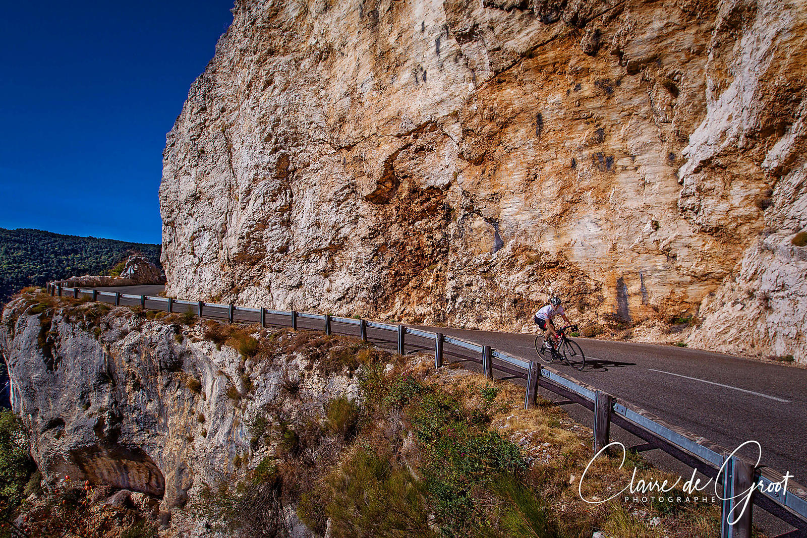 Outdoor cycling sports portrait on a mountain road