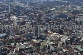 Manchester view of the city skyline showing Beetham Tower One St Peters Square City Tower and Piccadilly Plaza with Spinningf...