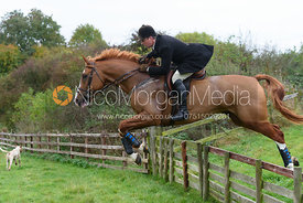 Dean Andrews jumping a hunt jump at Thorpe Satchville - Quorn Hunt Opening Meet 2016