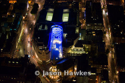 Night aerial view over the BBC building, Upper Regent St, London