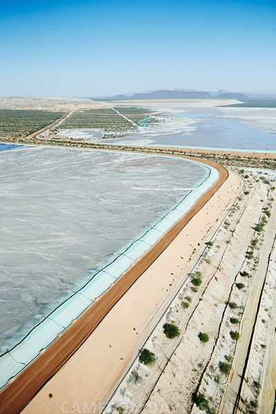 Aerial photograph of retention ponds for a copper and gold mine in Arizona