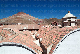 View across roof of Casa de la Moneda / Royal Mint to Cerro Rico, Potosí, Bolivia
