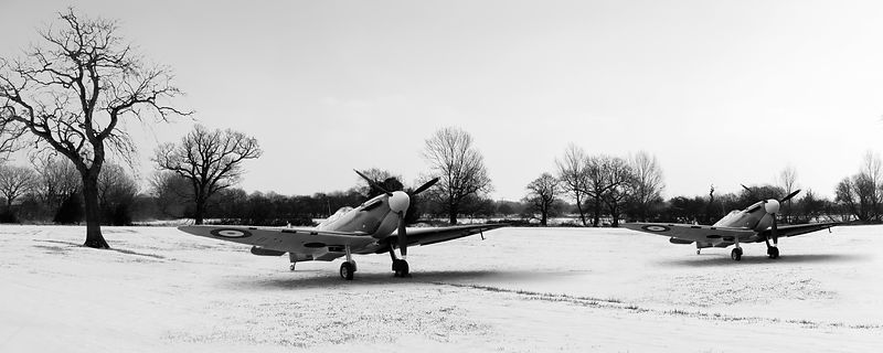 Spitfires in the snow black and white version