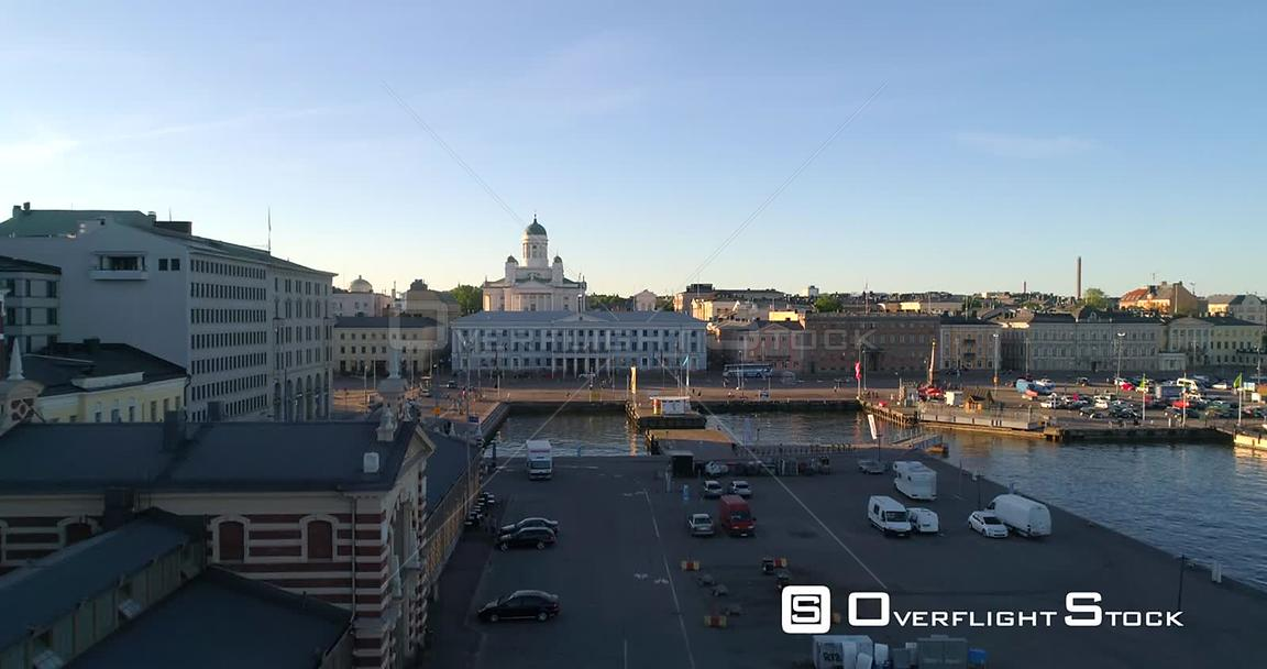 Helsinki Cityscape, Aerial Rising View at Old Market Hall, Revealing the Helsinki Cathedral and the City, on a Sunny Summer E...