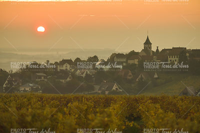 The Village of Zellenberg at sunrise,Alsace vineyard, France