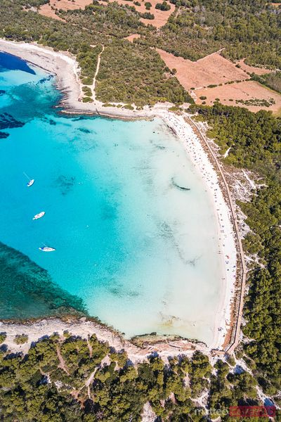 Aerial view of Son Saura beach, Menorca, Spain