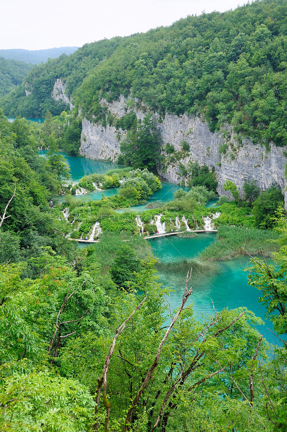 Overview of the lower lakes: Kaluderovac, Gavanovac and Milanovac, limestone cliffs and heavily forested surroundings, Plitvi...