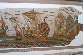 Roman Mosaic of Ulysses and the Sirens, Bardo Museum, Tunisia, Landscape
