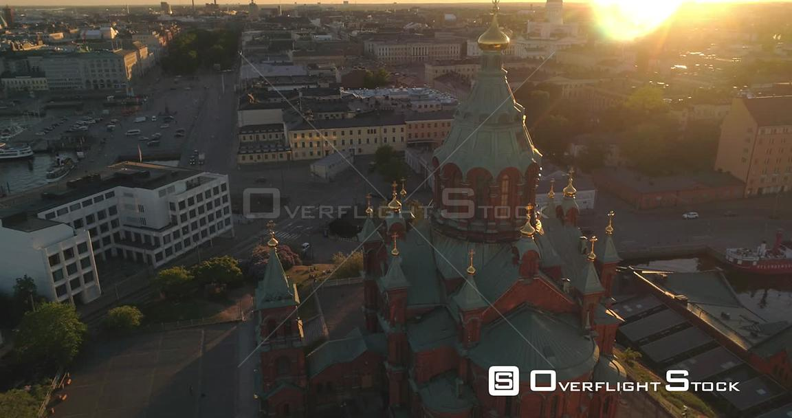 Helsinki City, Aerial Tilt View Away from Uspetski Cathedral Golden Cupole, Rin the City, on a Sunny Summer Evening Dusk, in ...