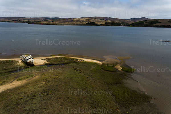 Aerial photo of iconic shipwrecked boat in Point Reyes
