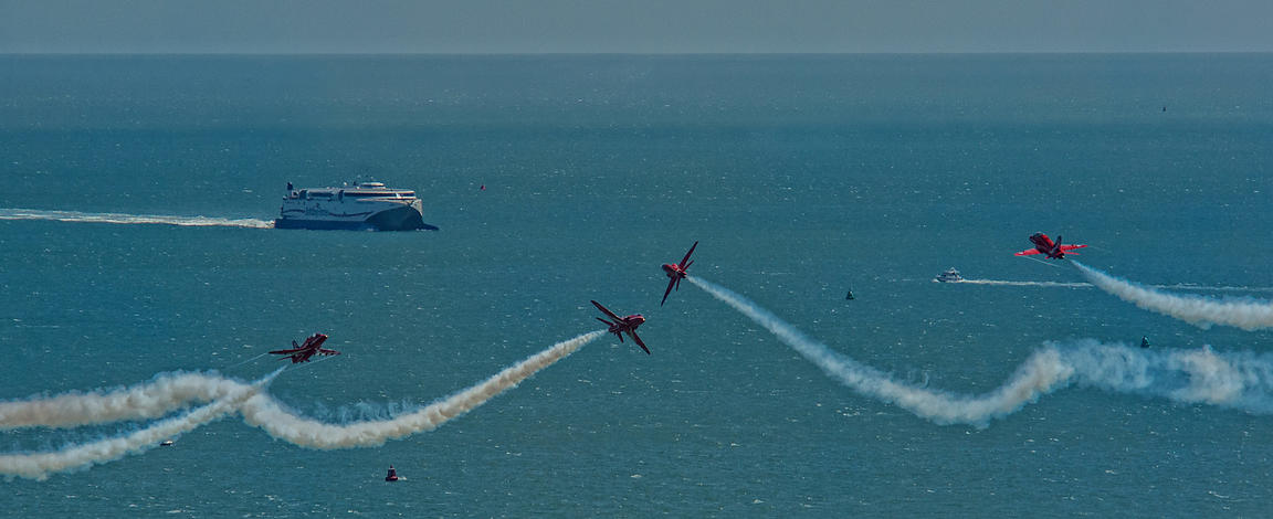 Red Arrows Spectacular Flight during America's Cup 2016: Portsmouth UK.