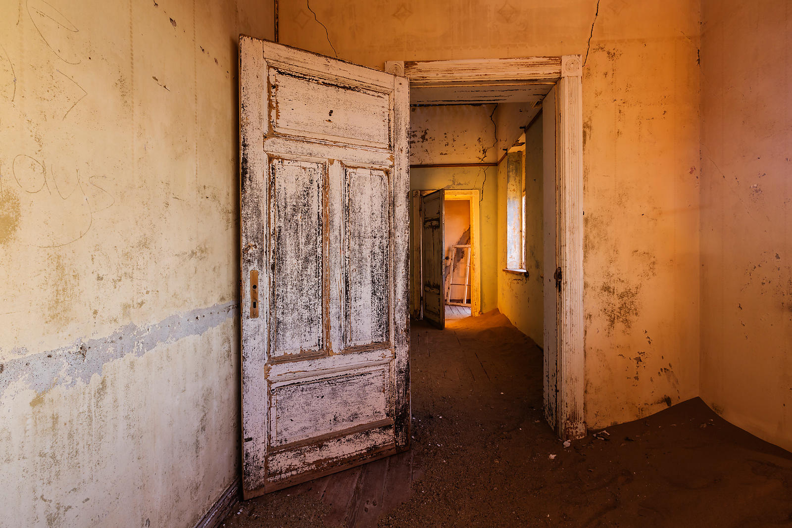 Interior of Abandoned House at Sunset