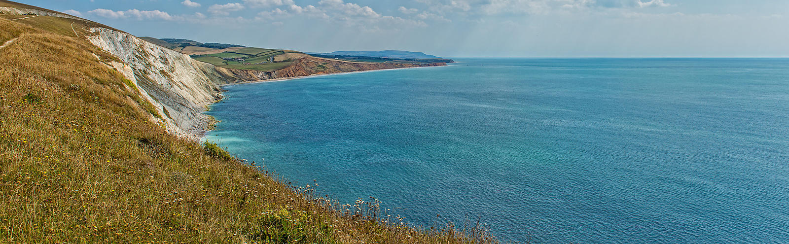 View of the Isle of Wight's south coastal landscape.