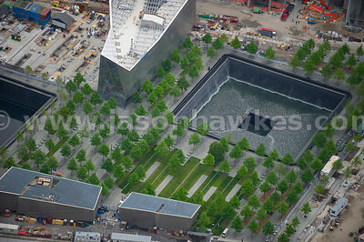 Looking down onto the The National September 11 Memorial & Museum, 911 Memorial, which commemorates the September 11 attacks ...