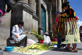 Cholita buying ornaments made out of palm leaves outside cathedral on Palm Sunday , Plaza Murillo , La Paz , Bolivia