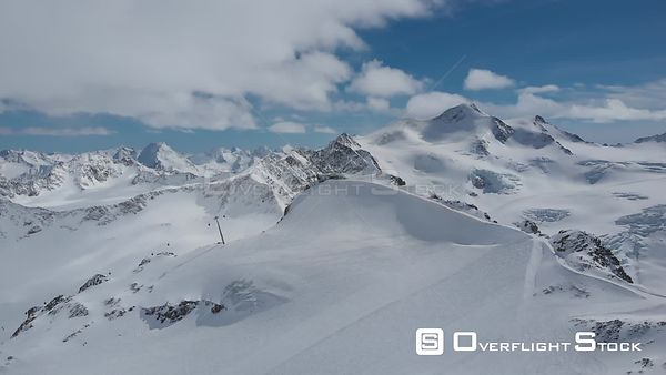 Aerial shot of Alps over Pitztal glacier in Tyrol, Austria