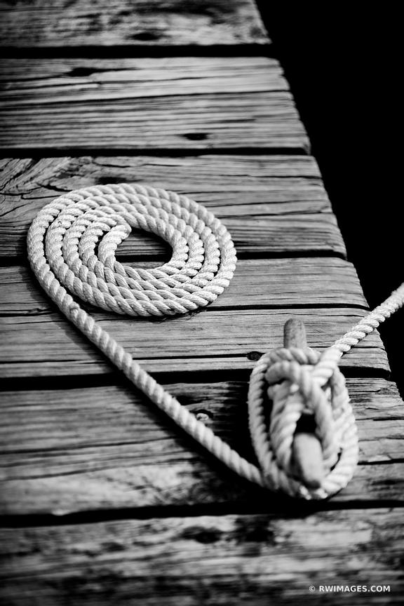 MARINE SAILING ROPE LONG ISLAND NEW YORK BLACK AND WHITE VERTICAL